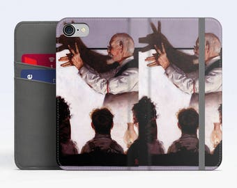 "Norman Rockwell, ""Shadow Artist"". iPhone X Wallet case iPhone 8 Wallet case  iPhone 7 Plus Wallet case. Samsung Wallet cases."