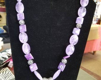 Purple necklace and earring set