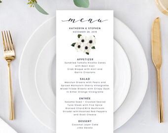 Printable Wedding Menu, Flower Wedding Menu Printable Template, Calligraphy Printable Wedding Menu, Floral Dinner Menu Editable Template