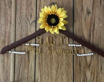 Name and Date with Pearls and Sunflower Wedding Gown Hanger