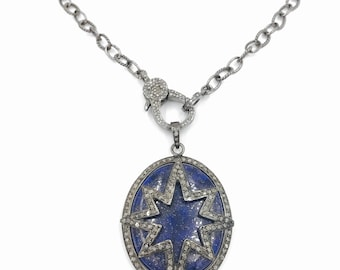 Short diamond lapis lazuli necklace, Sterling silver necklace, Pave diamond jewelry, Diamond pendant, Lapis necklace