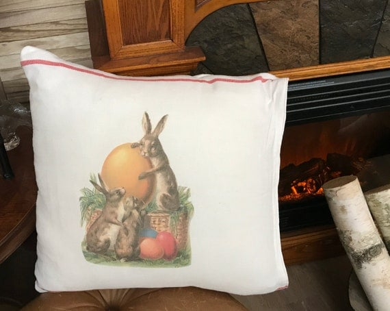 """Red Retro Stripe Pillow Cover- Rustic Farm House Bunny Rabbits & Easter Eggs 18""""x 18""""  Pillow Cover- Chesilhurst Farm"""