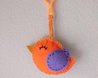 Bird hanger , Orange Birdie, bag charms ,Handmade gifts,Ready to ship,felt charm,handbag school bag charm, toy,cute smiling bird, mini plush
