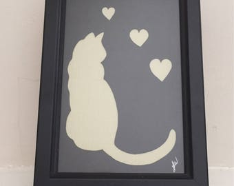 Framed black & cream cat with hearts papercut