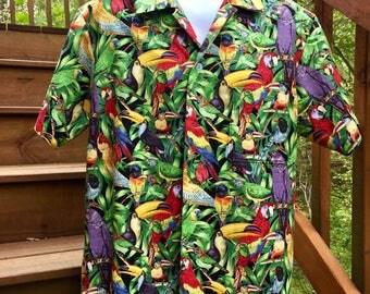 The Parrot Paradise Jungle Hawaiian Style Shirt!