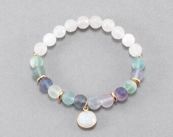 Moonstone Charm Fluorite Bracelet