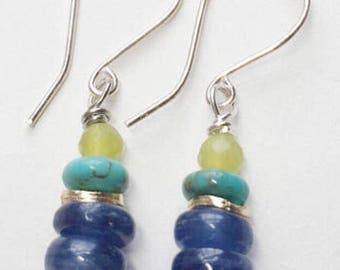Kyanite, Olive Jade, and Kingman turquoise earrings