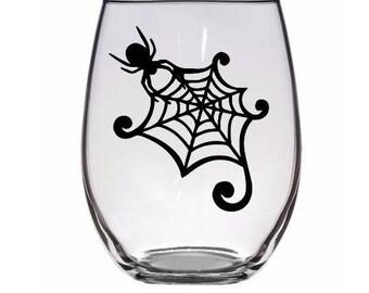 Spider Web Halloween Wine Pint Glass Barware Drinkware Mug Tumbler Cup Merch Massacre Horror
