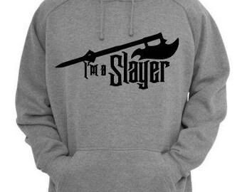 I'm a Slayer Buffy the Vampire Slayer Unisex Hoodie Pullover Hooded Sweatshirt Many Sizes Colors Custom Horror Halloween Merch Massacre