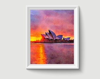 Opera House Sydney Australia Painting Postcard Poster Art Print Q29