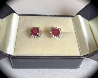 Genuine Madagascan Ruby & Diamond Earrings Premium Quality Silver Jewellery! 'CERTIFIED'
