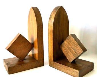 Haagse School Art Deco Wooden Bookends in Geometric, Cubistic Design, Diamond Shape