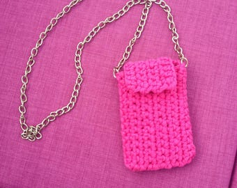 Fuchsia pink cell phone pouch