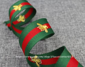 Red Green 1.5'' Embroidered Ribbon Queen Bee Ribbon Striped Grosgrain Ribbon Single Faced Trim Thick Ribbon Choker Ribbon Belt Trim  #R4
