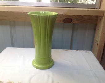 Fiesta fluted Chartreuse vase, 9 3/4 inches