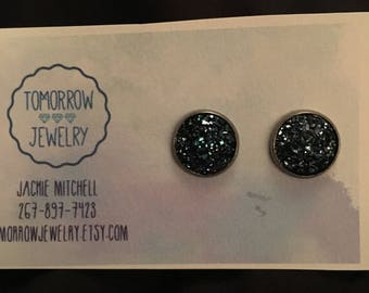 Katie 12mm Deep Berry Blue Flat Druzy Gun MetalSetting
