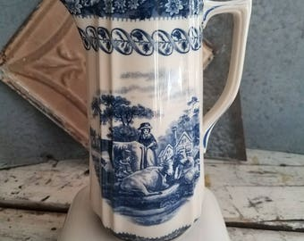 Vintage Transferware Pitcher / Vintage Ironstone / Vintage Dishes / Blue Dishes / Vintage Farm Scene Pottery / Vintage Country