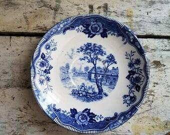 Vintage Transferware / Blue Normandy Dish / Blue White Dish / Vintage Ironstone / Vintage Farmhouse / Vintage Cottage / Cottage Decor