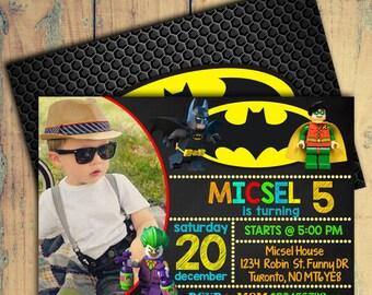 Lego Batman Birthday Invitation/Lego Batman Berthday Invite/Lego batman Invitations/Lego Batman Birthday Party/Batman Lego Invitation/Lego
