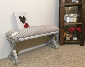 Rustic Upholstery Bench