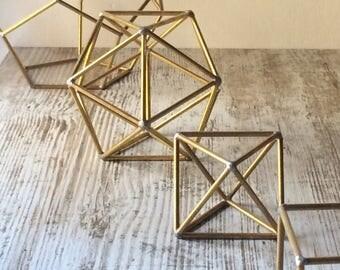 set 5 platonic solids stained brass healing meditation