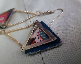 Earrings triangle blue and glitter silver