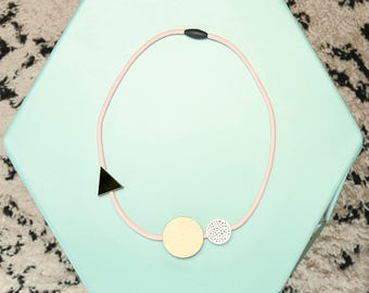 Handmade Geometric Shapes Acrylic + Birch Plywood Necklace - Pink