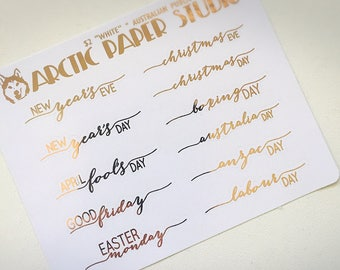 Public Holidays SCRIPTS - FOILED Sampler Event Icons Planner Stickers