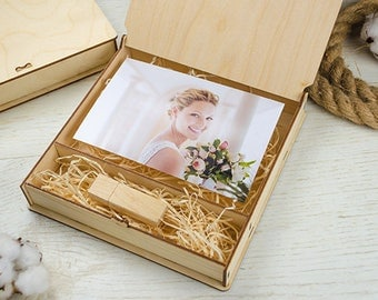 10 4x6 wood print box | 4x6 photo box for photos and USB drive (15x10 cm photo packaging)