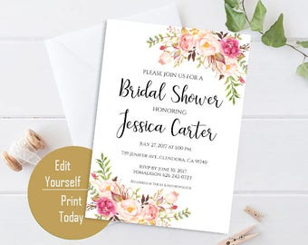 Bridal Shower Invitation Editable Template Bridal Shower Printable Floral Bridal Shower PDF Instant Download Pastel Blooms DIY Bridal Shower