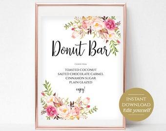 Donut Bar Sign Donut Bar Printable Wedding Donuts Dessert Table Sign Dessert Table Decor Instant Download PDF 4x6, 5x7, 8x10 Pastel Blooms