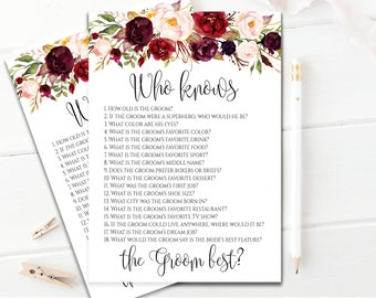 Editable Who Knows The Groom Best Game Floral Bridal Shower Cards How Well Do You Know The Groom Game Instant Download Bridal Shower Games