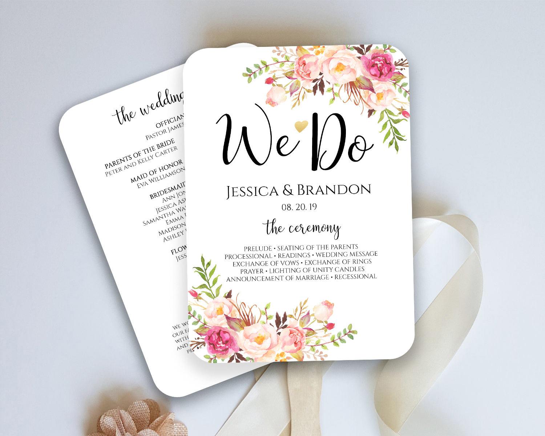 Wedding Program Fan Template Ceremony Program Fan Wedding Fan - Wedding fan program template