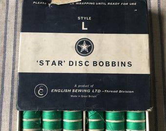 Vintage Star Disc Bobbins 70 Emerald Green Cotton
