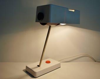Desk lamp 70s 80s white switch knob orange vintage desk lamp orange