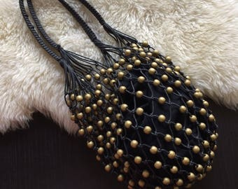 Vintage black beaded net market bag