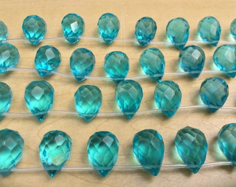 "Aqua Quartz-glass,  Faceted Briolette, 10x16mm, 16"" strand ( 22 beads) , 1mm top drilled hole, one strand"