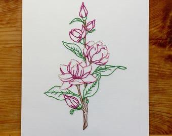 Magnolia Hand Stitched Art