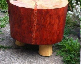 Wood stump stool stand side table