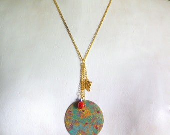 enameled flowers Locket necklace