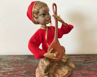 Vintage Pixie Elf with Harp Figurine