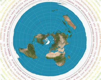 Flat Earth Map - Azimuthel Equidistant with Biblical Scripture - A1 or A2