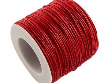 1mm Wide Red Waxed Cotton Cord/Thong -10 Metre Cut Length - Stringing/Beading/Knotting/Macrame