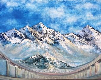 Himalayas mountains original oil art painting, mountain landscape Himalayas painting, old temple in mountains oil painting, oil painting