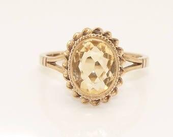 Stunning Vintage 9Ct Gold 1.8 Ct Citrine Dress Ring, Size L 1/2