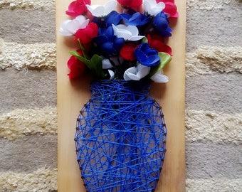 Patriotic flower vase string art
