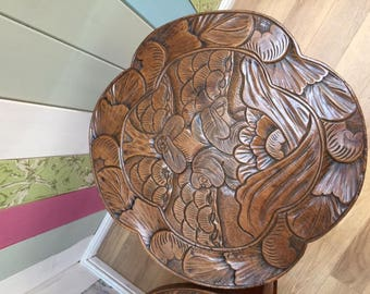 Antique Arts and Crafts carved tables with three wise monkeys
