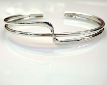 Sterling Silver Wave Design Cuff Bracelet