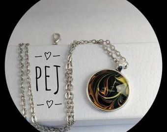 Yellow/orange/black,paintpour,cabochon,pendant,necklace