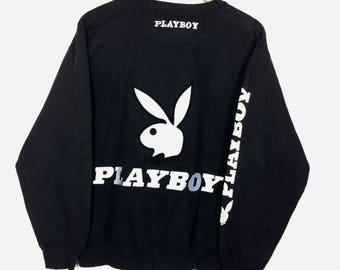 Rare !!! Vintage PLAYBOY Spellout Big Logo Sweatshirt Rap Tees Hip Hop Swag Size L